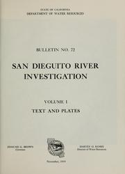 San Dieguito River investigation by California. Dept. of Water Resources.