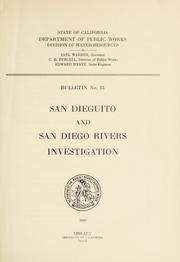 San Dieguito and San Diego Rivers investigation by California. Division of Water Resources.