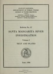 Cover of: Santa Margarita River investigation | L. R. Illingworth