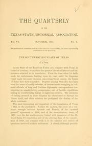 Cover of: The southwest boundary of Texas ..