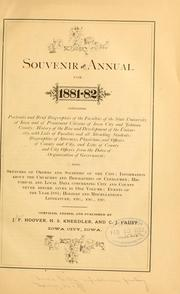 Cover of: Souvenir and annual for 1881-82, containing ... by John F. Hoover