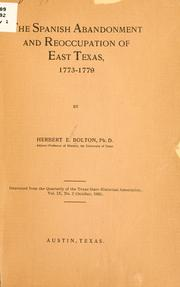 Cover of: The Spanish abandonment and reoccupation of east Texas: 1773-1779
