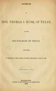 Cover of: Speech of Hon. Thomas J. Rusk, of Texas | Thomas Jefferson Rusk