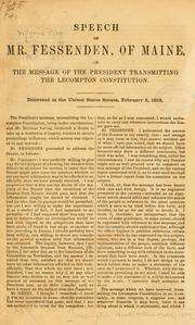 Cover of: Speech of Mr. Fessenden, of Maine