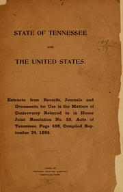 Cover of: State of Tennessee and the United States. | Tennessee