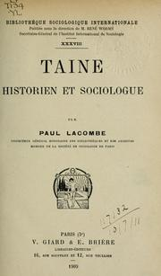 Taine, Historien et sociologue by Lacombe, Paul