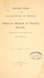 Cover of: Visitors' guide to the collection of birds in the American Museum of Natural History ..