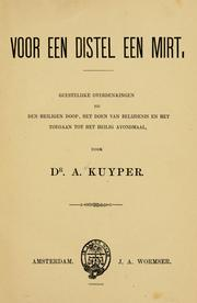 Cover of: Voor een distel een mirt