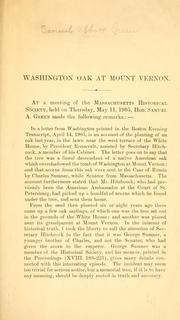 Cover of: Washington oak at Mount Vernon