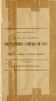 Cover of: Who planned the Tennessee campaign of 1862?