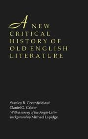 Cover of: A New Critical History of Old English Literature | Stanley B. Greenfield