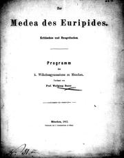 Cover of: Zur Medea des Euripides