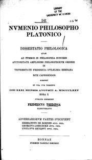 Cover of: De Numenio philosopho Platonico: dissertatio philologica quam ...