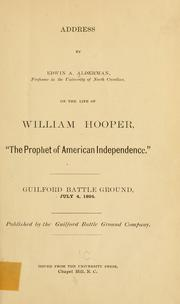 Cover of: Address by Edwin A. Alderman ... on the life of William Hooper