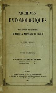Cover of: Archives entomologiques