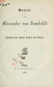 Cover of: Briefe an Christian Carl Josias von Bunsen