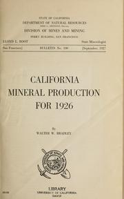 Cover of: California mineral production for 1926