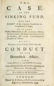 Cover of: The case of the sinking fund