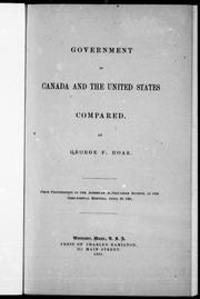 Government in Canada and the United States compared by George F. Hoar