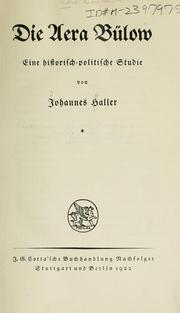 Cover of: Die aera Bülow