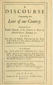 Cover of: A discourse concerning the love of our country