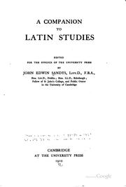 Cover of: A companion to Latin studies