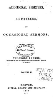 Cover of: Additional speeches, addresses, and occasional sermons