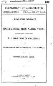 Cover of: descriptive catalogue of manufactures from native woods | Charles Richards Dodge