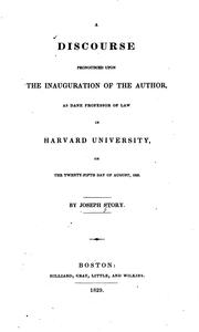 Cover of: A discourse pronounced upon the inauguration of the author