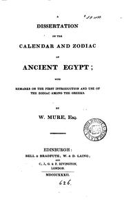 A Dissertation On The Calendar And Zodiac Of Ancient Egypt by Mure, William
