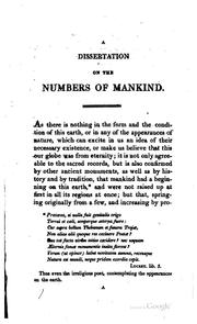 Cover of: A dissertation on the numbers of mankind