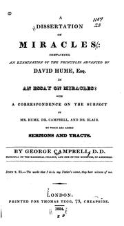 A dissertation on miracles by Campbell, George