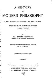 Cover of: history of modern philosophy | Harald HГёffding