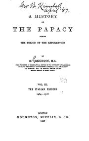 Cover of: A history of the Papacy during the period of the Reformation