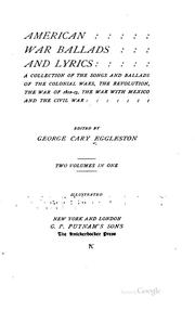 Cover of: American war ballads and lyrics