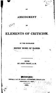 Cover of: An abridgment of Elements of Criticism