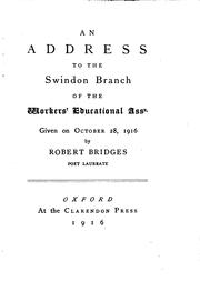 Cover of: An address to the Swindon Branch of the Workers' Educational Assn