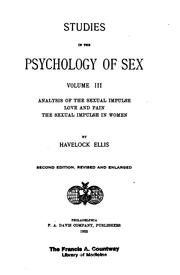 Cover of: Analysis of the sexual impulse, love and pain