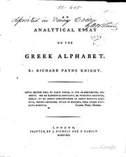 Cover of: An analytical essay on the Greek alphabet