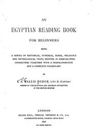 Cover of: An Egyptian reading book for beginners