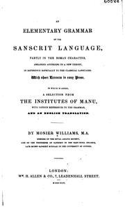 Cover of: An elementary grammar of the Sanscrit language