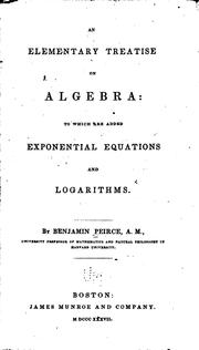Cover of: An elementary treatise on algebra