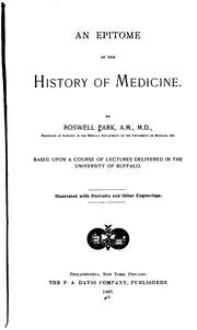 Cover of: An epitome of the history of medicine