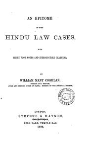 Cover of: An epitome of some Hindu law cases