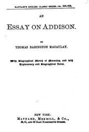 Cover of: Essay on Addison