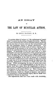 Cover of: essay on the law of muscular action | Louis Mackall