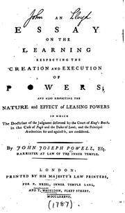 Cover of: An essay on the learning respecting the creation and execution of powers | Powell, John Joseph