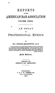 george sharswood an essay on professional ethics