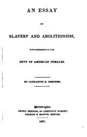 Cover of: An essay on slavery and abolitionism