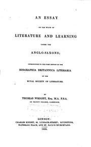Cover of: An essay on the state of literature and learning under the Anglo-Saxons